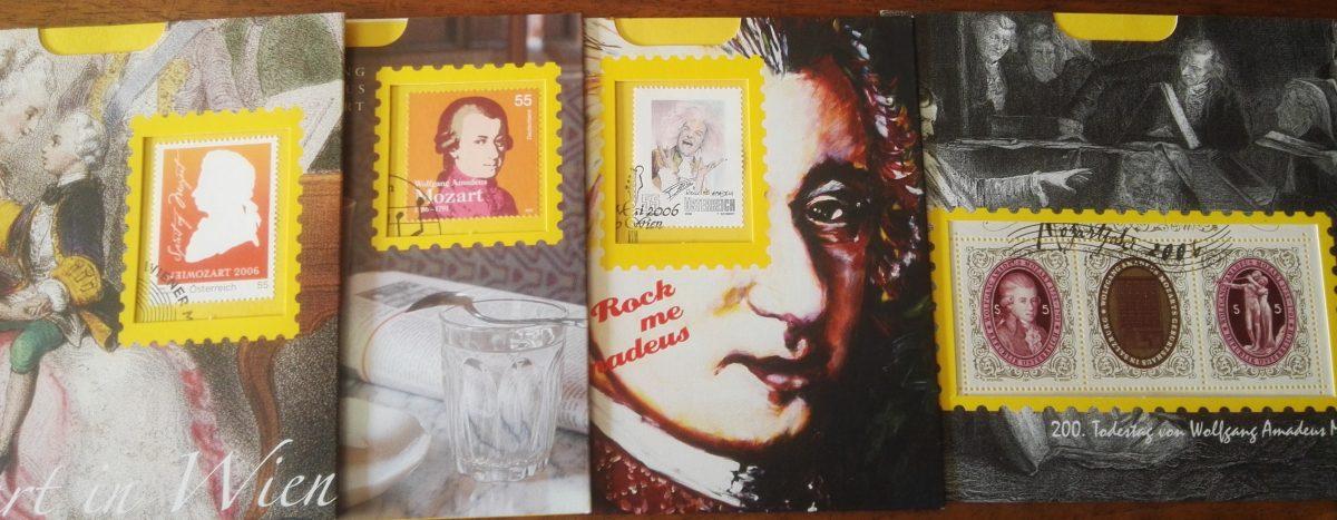 Vier eerste dag Mozart zegels Oostenrijk
